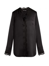 Lace-trim silk-satin blouse at Matches
