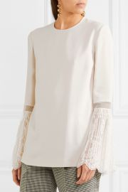 Lace-trimmed Crepe Blouse by Stella McCartney at Net A Porter
