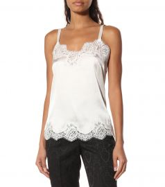 Lace-trimmed satin camisole at Mytheresa
