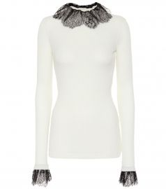 Lace-trimmed wool-blend sweater at Mytheresa