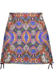 Lace-up Printed Leather Mini Skirt by Camilla at The Outnet