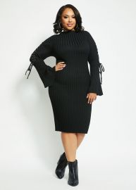 Lace-up Sleeve Sweater Dress by Ashley Stewart at Ashley Stewart