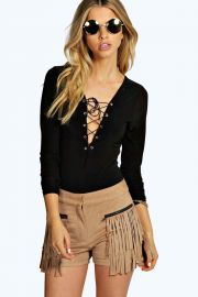 Lace up bodysuit at Boohoo