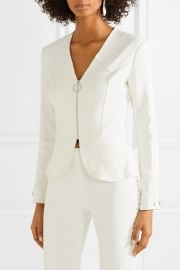 Lace-up crepe peplum jacket at Net A Porter