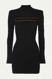 Lace-up ribbed pointelle-knit mini dress at Net A Porter