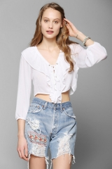 Lace up ruffle top by Kimchi Blue at Urban Outfitters