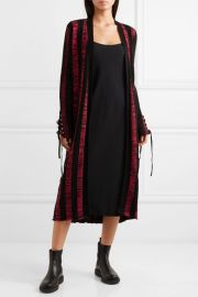 Lace-up striped cotton cardigan at Net A Porter