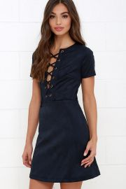 Lace up suede dress at Lulus
