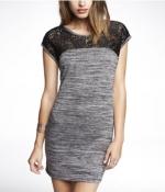 Lace yoke marle dress at Express