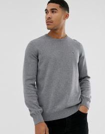 Lacoste logo crew neck cotton knit sweater in dark gray   ASOS at Asos