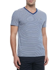 Lacoste Striped Jersey V-Neck Tee Navy BlueWhite at Neiman Marcus