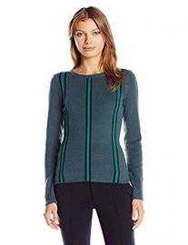 Lacoste Women s Long Sleeve Cotton Wool Verticle Stripe Sweater at Amazon