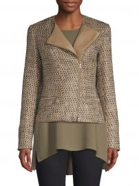 Lafayette 148 New York - Trista Tweed  amp  Leather Jacket at Saks Fifth Avenue