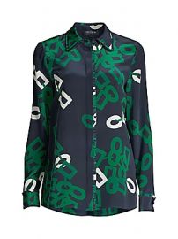 Lafayette 148 New York - Duvall Link-Print Silk Blouse at Saks Fifth Avenue