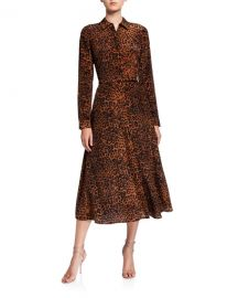 Lafayette 148 New York Augustina Leopard Printed Long-Sleeve Silk Midi Dress at Neiman Marcus