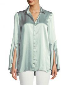 Lafayette 148 New York Cartolina Silk Charmeuse Long-Sleeve Blouse at Neiman Marcus