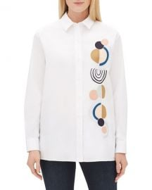 Lafayette 148 New York Everson Long-Sleeve Button-Front Excursion Stretch Blouse w  Embellished Motif at Neiman Marcus