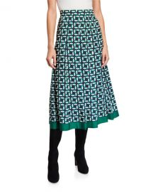 Lafayette 148 New York Fiona Geo Link Print Twill Midi Skirt at Neiman Marcus