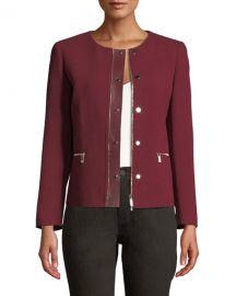 Lafayette 148 New York Kerrington Leather Trim Jacket at Last Call