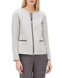 Lafayette 148 New York Kerrington Long-Sleeve Zip-Front Trestle Weave Jacket at Neiman Marcus