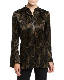 Lafayette 148 New York Marybeth Mod Deco Burnout Blouse at Neiman Marcus