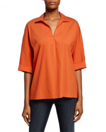 Lafayette 148 New York Nicole V-Neck 3 4-Sleeve Italian Stretch-Cotton Blouse at Neiman Marcus