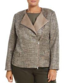 Lafayette 148 New York Plus Trista Suede-Trimmed Metallic Tweed Jacket Women -  Plus - Bloomingdale s at Bloomingdales