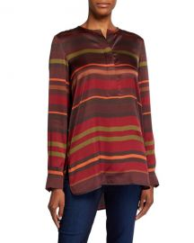 Lafayette 148 New York Prisha Autumn Stripe Sheen Cloth Long-Sleeve Blouse at Neiman Marcus