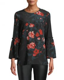 Lafayette 148 New York Roslin Bell-Sleeve Top w  Terrace Florets at Neiman Marcus