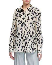 Lafayette 148 New York Scottie Painted Leopard Print Silk Button-Down Blouse at Neiman Marcus