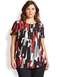 Lafayette 148 New York Sizes 14-24 - Silk Shari Brushstroke-Print Top at Saks Fifth Avenue