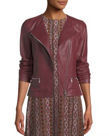 Lafayette 148 New York Trista Zip-Front Weathered Lambskin Leather Jacket w  Jersey Combo at Neiman Marcus