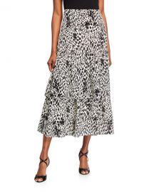 Lafayette 148 New York Zia Cheetah Print Tiered Silk Skirt at Neiman Marcus