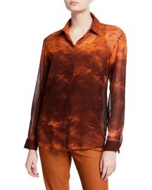 Lafayette 148 New York Zora Sunset Sky Silk Button-Down Blouse at Neiman Marcus
