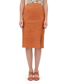 Lafayette 148 New YorkEsma Etched Croco Knee-Length Leather Skirt at Neiman Marcus