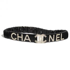Lambskin Crystal Logo Belt by Chanel at Chanel