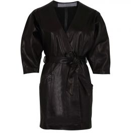 Lanika belted leather mini wrap dress by IRO at 24S