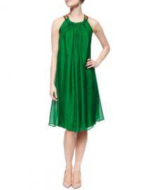 Lanvin Jeweled-Neck Chiffon Trapeze Dress Green at Neiman Marcus