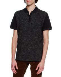 Lanvin Slub-Knit Polo Shirt  Navy   Neiman Marcus at Neiman Marcus