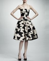 Lanvin Strapless Butterfly Jacquard Dress BlackIvory at Neiman Marcus