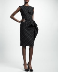 Lanvin Trompe lOeil Check Peplum Dress Dark Gray at Neiman Marcus