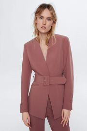 Lapelless Belted Blazer in Marsala by Zara at Zara