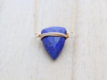 Lapis Lazuli Triangle Necklace at Etsy