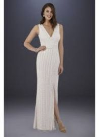 Lara Brandy Beaded Faux-Wrap V-Neck Wedding Dress at Davids Bridal