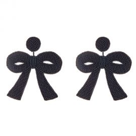 Large Black Bow Earrings at Haute
