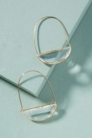 Large Stone Crescent Hoop Earrings at Anthropologie