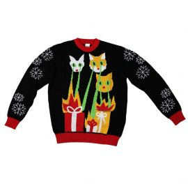 Laser Cat-Zillas Ugly Christmas Sweater-FunQi Black Clothing at Amazon