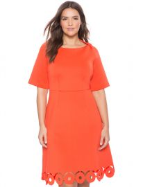 Laser Cut Hem Fit and Flare Dress at Eloquii