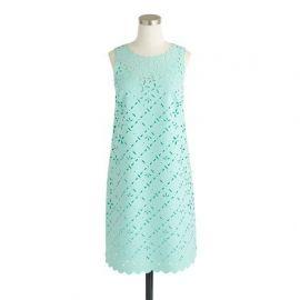 Laser-cut floral shift dress in misty green at J. Crew