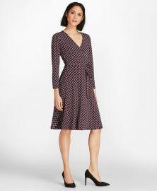 Lattice-Print Jersey Faux-Wrap Dress at Brooks Brothers
